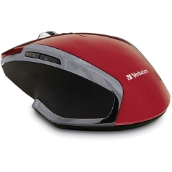 Verbatim Wireless Notebook 6-Button Deluxe Blue LED Mouse - Red - Blue LED - Wireless - Radio Frequency - Red - 1 Pack - USB - Scroll Wheel - 6 Button(s)