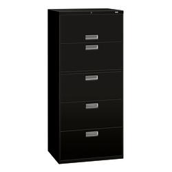 "HON® Brigade® 600 36""W Lateral 5-Drawer File Cabinet, Metal, Black"