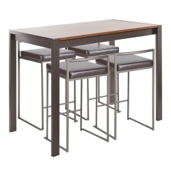 LumiSource Fuji Industrial Counter-Height Dining Table With 4 Stools, Antique Metal/Walnut/Brown