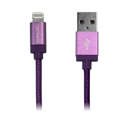 Duracell® Sync-And-Charge Fabric Cable, USB-To-Lightning, 6', Purple, LE2198