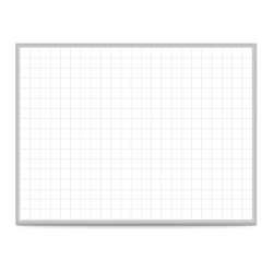 """Ghent Grid Magnetic Dry-Erase Whiteboard, 48"""" x 96"""", Silver Aluminum Frame"""