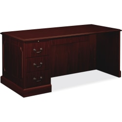 HON® 94000-Series Left Single Pedestal Desk, Mahogany