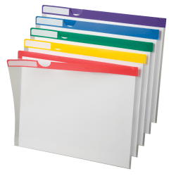 Pendaflex® Poly Index Folders, Letter Size, Clear With Color Stripes, Pack Of 10