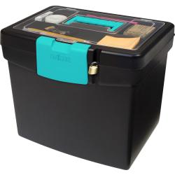 Storex File Storage Box with XL Storage Lid, Black/Teal
