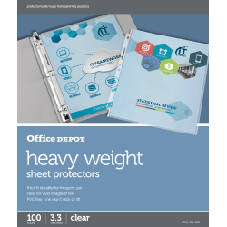 """Office Depot® Brand Heavyweight Sheet Protectors, 8-1/2"""" x 11"""", Clear, Pack Of 100"""
