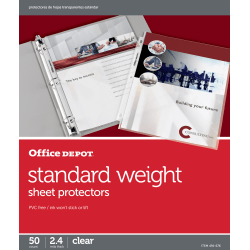 "Office Depot® Brand Standard Weight Sheet Protectors, 8-1/2"" x 11"", Clear, Pack Of 50"