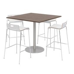 KFI Studios Square Bistro Pedestal Table With 4 Stacking Bar Stools, Studio Teak/White