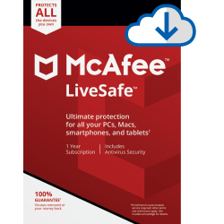 McAfee LiveSafe for Unlimited Devices, 1 Year Subscription, PC/Mac (Download)