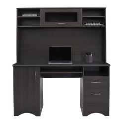 """Realspace Pelingo 56""""W Desk With Hutch, 64""""H x 55-1/2""""W x 23""""D, Dark Gray"""