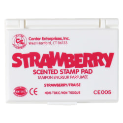 """Center Enterprise Scented Stamp Pads, Strawberry Scent, 2 1/4"""" x 3 3/4"""", Hot Pink, Pack Of 6"""