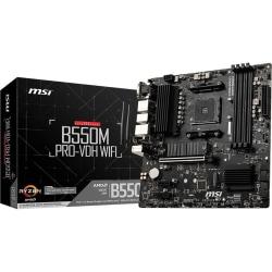 MSI B550M PRO-VDH WIFI Desktop Motherboard - AMD Chipset - Socket AM4 - Micro ATX - 128 GB DDR4 SDRAM Maximum RAM - DIMM, UDIMM - 4 x Memory Slots - Gigabit Ethernet - IEEE 802.11ac - HDMI - DisplayPort - 4 x SATA Interfaces