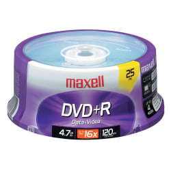 Maxell® DVD+R Recordable Media Spindle, 4.7GB/120 Minutes, Pack Of 25