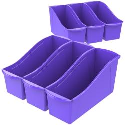 """Storex Large Book Bins, 7""""H x 5-5/16""""W x 14-5/16""""D, Purple, Pack Of 6 Bins"""