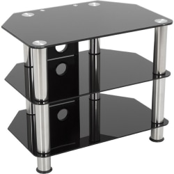 """AVF SDC600CM-A: Classic - Corner Glass TV Stand with Cable Mangement - Up to 32"""" Screen Support - 165.35 lb Load Capacity - 3 x Shelf(ves) - 19.7"""" Height x 23.6"""" Width x 15.7"""" Depth - Tempered Glass, Stainless Steel - Black, Chrome"""