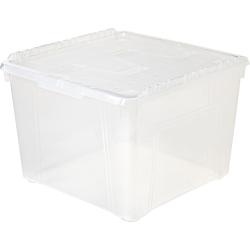 Office Depot® Brand Wing Lid Storage Box, 60 qt., Clear