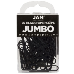 "JAM Paper® Paper Clips, Jumbo, 2"", 25-Sheet Capacity, Black, Pack Of 75"