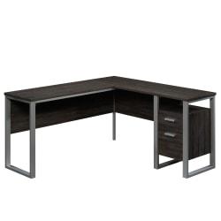 """Sauder® Rock Glenn 60""""W L-Shaped Desk, Walnut"""