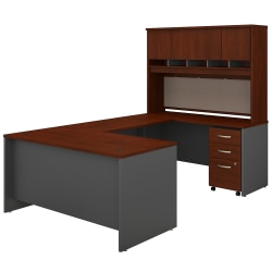 """Bush Business Furniture Components 60""""W U-Shaped Desk With Hutch And Mobile File Cabinet, Hansen Cherry/Graphite Gray, Standard Delivery"""