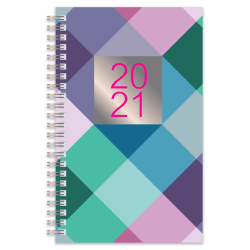 "Office Depot® Brand Weekly/Monthly Planner, 5"" x 8"", Buffalo Check, January To December 2021"