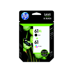 HP 61XL Black / 61 Tricolor Original Ink Cartridges, Pack of 2 (CZ138FN)