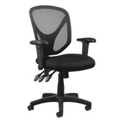Realspace® MFTC 200 Multifunction Ergonomic Mesh/Fabric Mid-Back Task Chair, Black