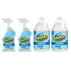 OdoBan Odor Eliminator Disinfectant, Fresh Linen Scent, Case Of 2 Qt Spray Bottles And 2 Gallon Concentrates