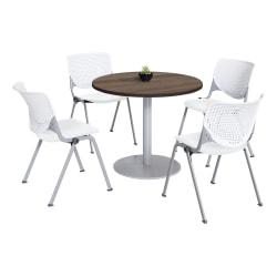KFI Studios KOOL Round Pedestal Table With 4 Stacking Chairs, Studio Teak/White