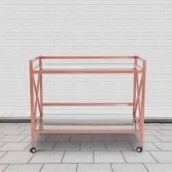 "Flash Furniture Glenwood Park Glass Kitchen Serving and Bar Cart, 31-3/4""H x 38-3/4""W x 23-1/4""D, Clear/Rose Gold"