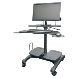 Kantek Sit to Stand Mobile Height Adjustable Computer Workstation With LCD Monitor Mount Pole, Black