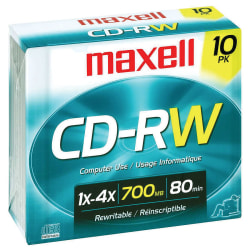 Maxell® CD-RW Rewritable Media With Jewel Cases, 700MB/80 Minutes, Pack Of 10