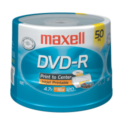 Maxell® DVD-R Recordable Printable Media Spindle, Matte, 4.7GB/120 Minutes, Pack Of 50