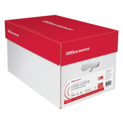 """Office Depot® Copy And Print Paper, 3-Hole Punched, Letter Size (8 1/2"""" x 11""""), 20 Lb, Ream Of 500 Sheets, Case Of 10 Reams"""
