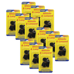 Martin Sports Plastic Whistles With Nylon Lanyards, Black, Pack Of 12 Whistles