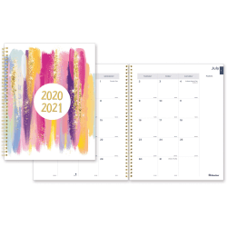 """Rediform Stardust Academic Monthly Planner - Academic/Professional - Monthly - 1.2 Year - July 2020 till August 2021 - 1 Month Double Page Layout - Twin Wire - Desk - Pink, Gold - Paper, Poly - 11"""" Height x 8.5"""" Width"""