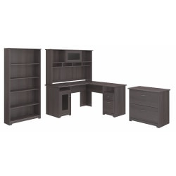 "Bush Furniture Cabot 60""W L-Shaped Desk With Hutch, Lateral File And 5-Shelf Bookcase, Heather Gray, Standard Delivery"
