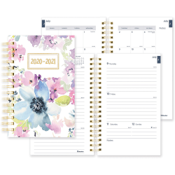 "Rediform Floral Academic Weekly/Monthly Planner - Academic/Professional - Weekly, Monthly - 1.1 Year - July 2020 till July 2021 - Twin Wire - Desk - Floral, Gold - Poly, Paper - 8"" Height x 5"" Width"