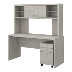 kathy ireland® Office by Bush Business Furniture Echo Credenza Desk With Hutch And Mobile File Cabinet, Gray Sand, Premium Installation