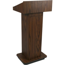 """AmpliVox W505 - Executive Non-sound Column Lectern - Rectangle Top - Sculpted Base - 20.75"""" Table Top Width x 16.50"""" Table Top Depth - 47"""" Height x 22"""" Width x 18"""" Depth - Assembly Required - High Pressure Laminate (HPL), Walnut"""