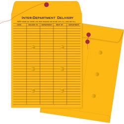 "Business Source Ruled Interdepartmental Envelopes - Inter-department - #32 - 10"" Width x 15"" Length - 32 lb - String/Button - Kraft - 100 / Box - Brown Kraft"