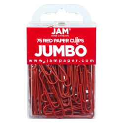 "JAM Paper® Paper Clips, Jumbo, 2"", 25-Sheet Capacity, Red, Pack Of 75"