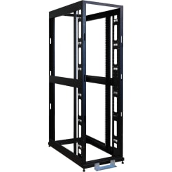 "Tripp Lite 42U 4-Post Open Frame Rack Cabinet Square Hole Heavy Duty Caster - 42U Rack Height x 19"" Rack Width - Black - 3000 lb Dynamic/Rolling Weight Capacity - 3000 lb Static/Stationary Weight Capacity"