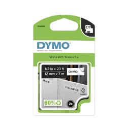"""DYMO® D1 45013 Black-On-White Tape, 0.5"""" x 23', Pack Of 2"""