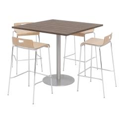 KFI Studios Square Bistro Pedestal Table With 4 Stacking Bar Stools, Studio Teak/Natural