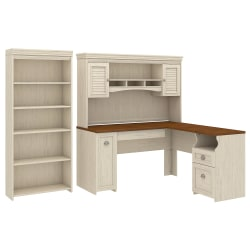"Bush Furniture Fairview 60""W L-Shaped Desk With Hutch And 5-Shelf Bookcase, Antique White, Standard Delivery"