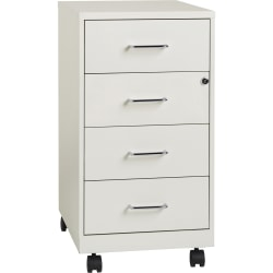 "Lorell® 26-1/2""D Vertical 4-Drawer Mobile File Cabinet, Metal, White"