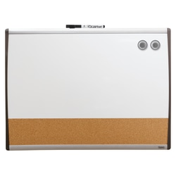 "Quartet® Magentic Dry-Erase/Bulletin/Calendar Board, Cork/Steel, 17"" x 23"", Natural/White Board, Silver Plastic Frame"