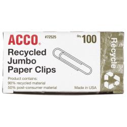 "ACCO® Jumbo Paper Clips, 1-3/4"", 20-Sheet Capacity, Silver, Box Of 100 Clips"