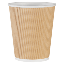 Genuine Joe Ripple Hot Cups, 8 Oz, Brown, Pack Of 25