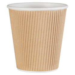 Genuine Joe Ripple Hot Cups, 10 Oz, Brown, Pack Of 25