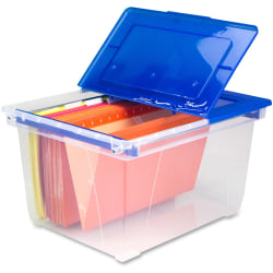 """Storex® Stackable Heavy-Duty Storage File Tote, 15 11/16"""" x 19 5/16"""" x 10 15/16"""", Letter/Legal Size, Clear Blue"""